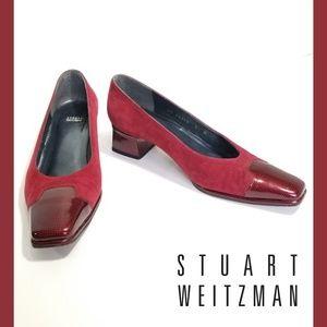 STUART WEITZMAN Red Suede & Patent Block Heels